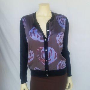 DKNY Donna Karan Tussan Silk Floral Front Cardigan